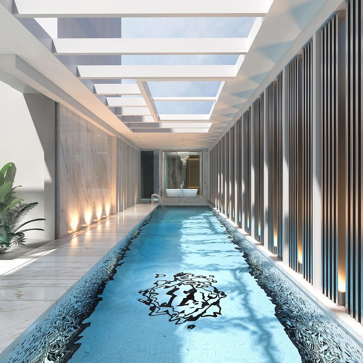 别墅室内游泳池白天效果图