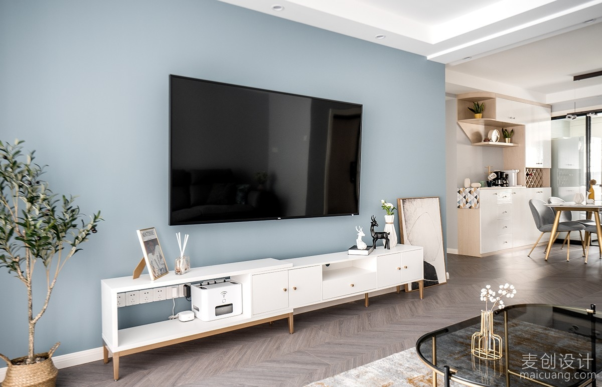 灰蓝色简约电视背景墙