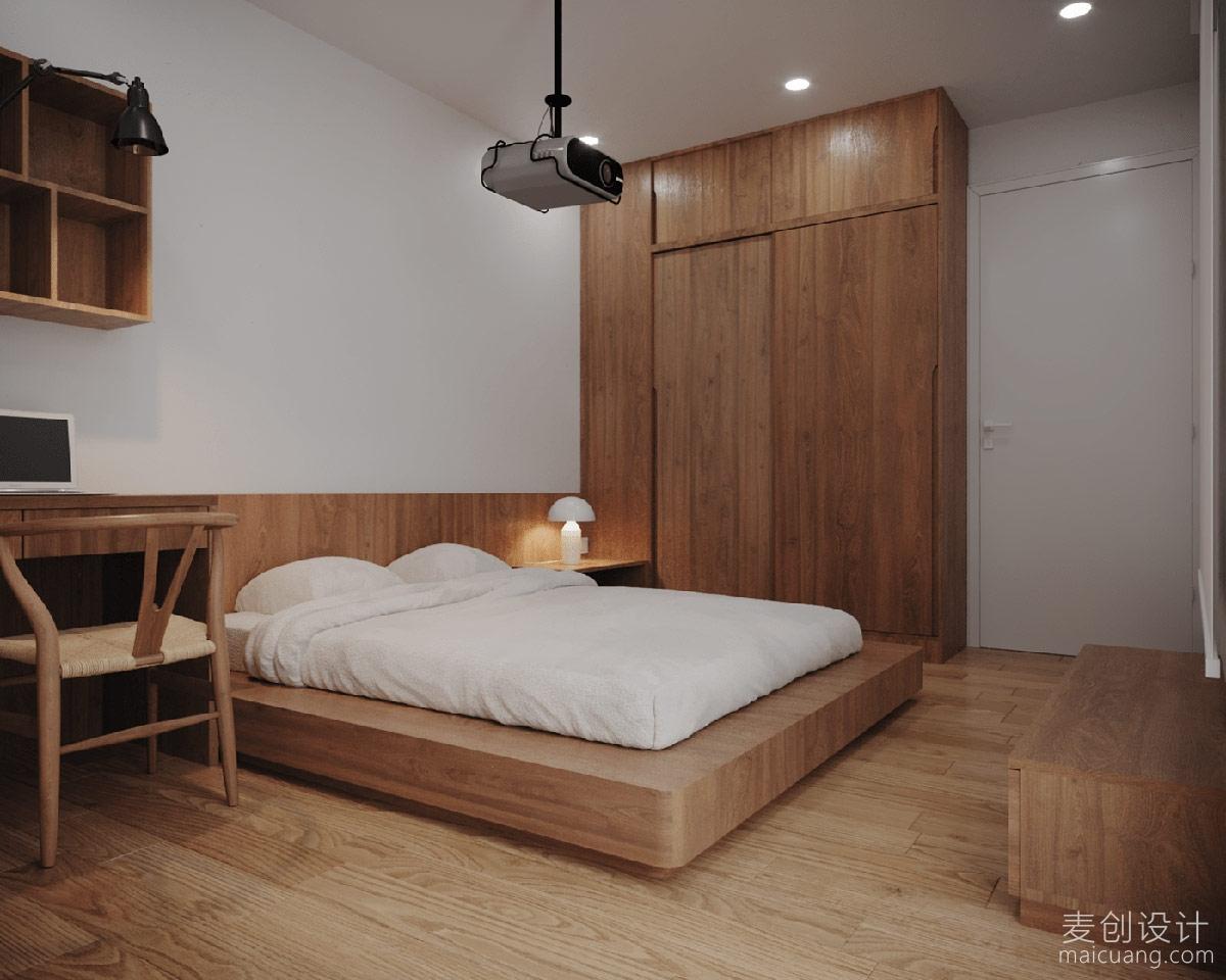 日式简约原木风格卧室